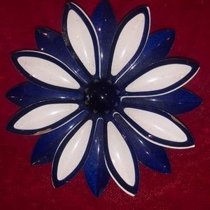 Vintage blue and white metal enamel flower